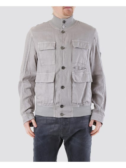 Grey Snap Button Collar Jacket with Four Front Pockets