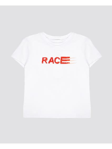 White Printed Kids T-Shirt