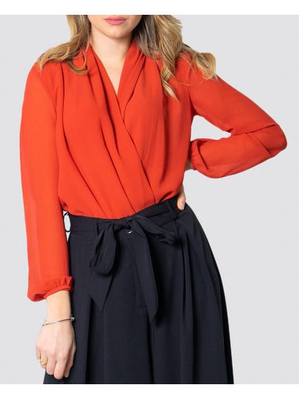 Full Red Long Sleeve Tops with stylish hems