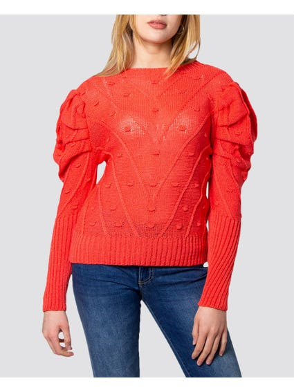 Red Balloon Sleeves Knitted Sweater