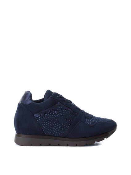 Blue Studded Low Top Sneakers