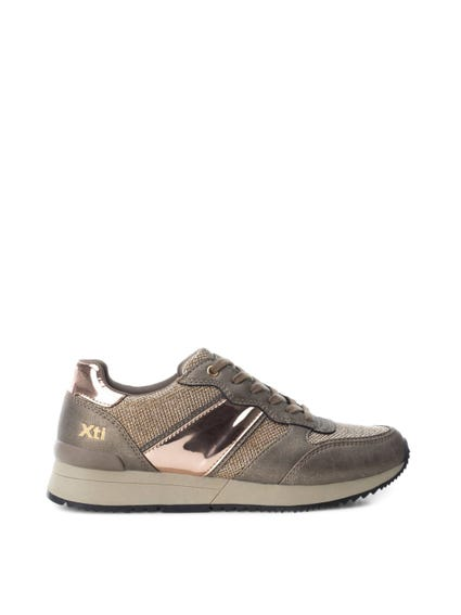 Brown Metallic Patent Lace Up Sneakers