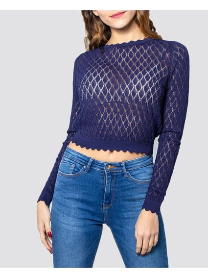 Blue Long Sleeves Knitted Cropped Top