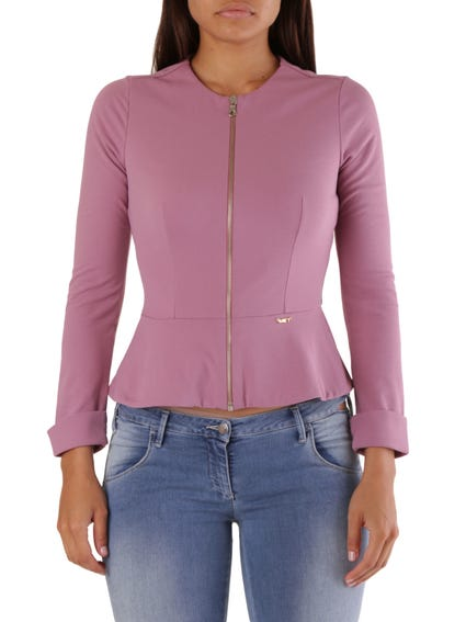 Pink Full Zip Long Sleeve Top