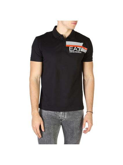 Black Printed Logo Polo Shirt