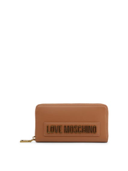 Brown Round Zip Logo Wallet