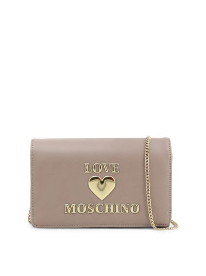 Grey Love Chain Clutch Bag