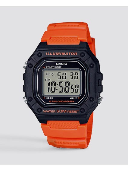 Orange Resin Strap Digital Watch