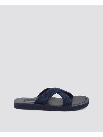 Blue Egadi Cross Strap Flip Flops