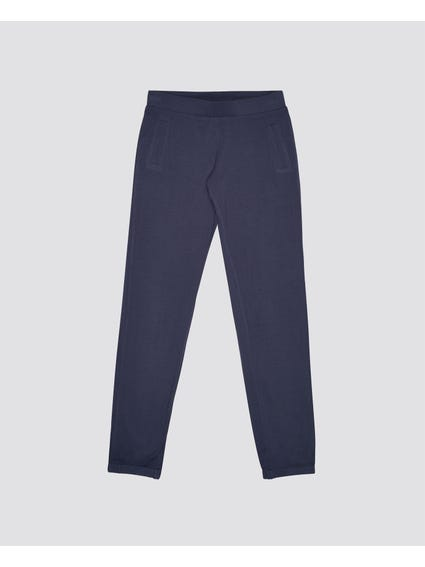 Blue Plain Ribbed Kids Trouser