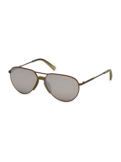Brown Slim Top Bar Bridge Sunglasses
