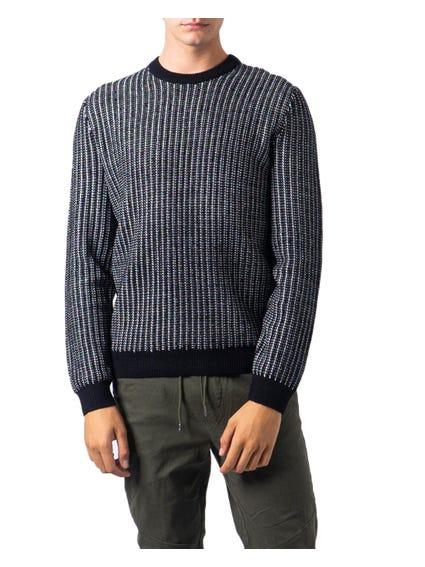 Round Neck Striped Knit Sweater