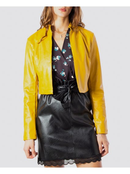 Yellow Open Cropped Jacket