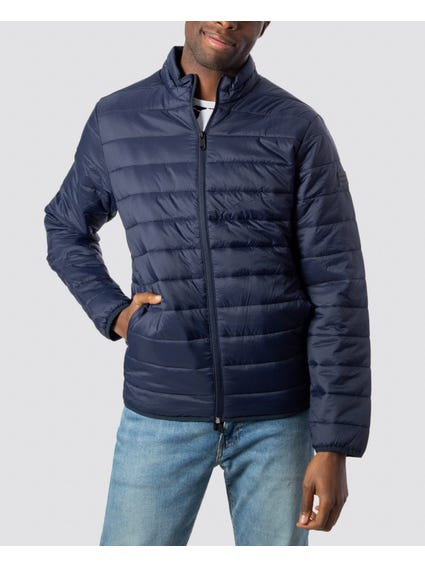 Blue Quilted Full Zip Jacket