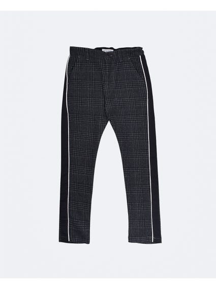 Solid Checkered Kids Trouser
