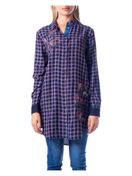 Collar Neck Checkered Shirt