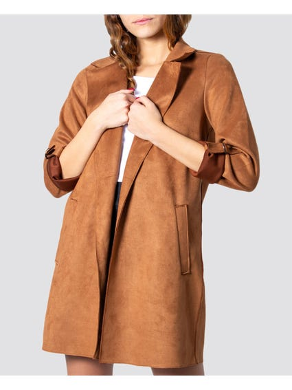 Brown Folded Sleeves Blazer