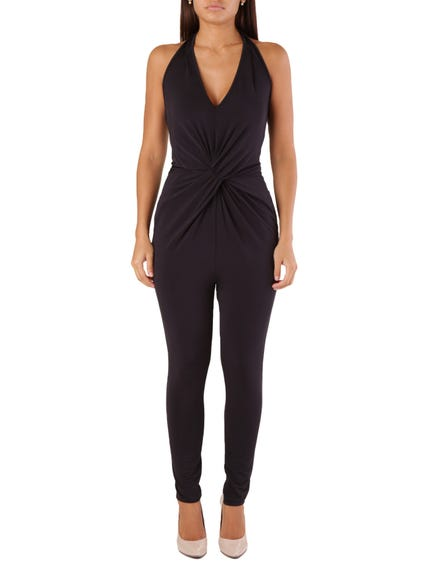 Black V Neck Sleeveless Jumpsuits