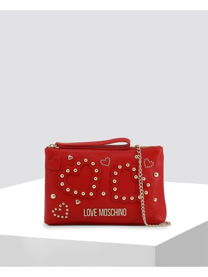 Red Embellished Studs Clutch Bag