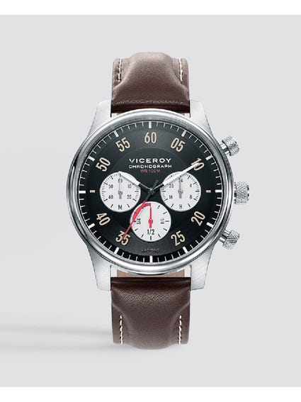 Tradition Black Dial Leather Watch