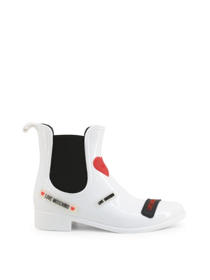 White Elastic Patent Ankle Boots