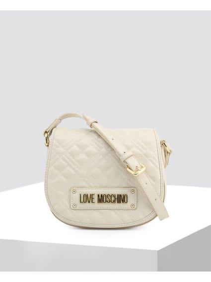 White Quilted Signature Crossbody Bag