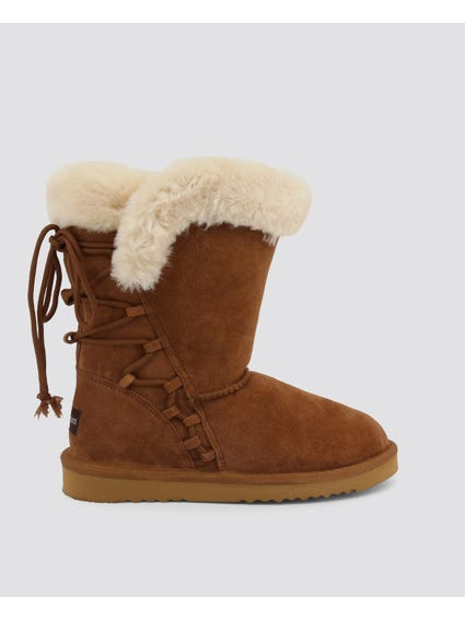 Camel Side Zipper Fur Suede Boots