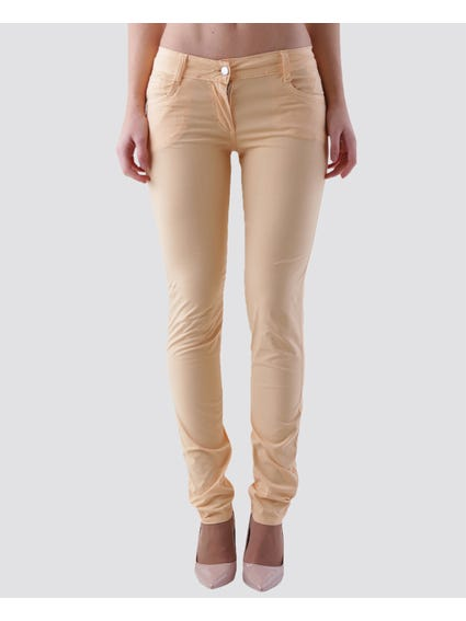 Light Orange Plain Jeans