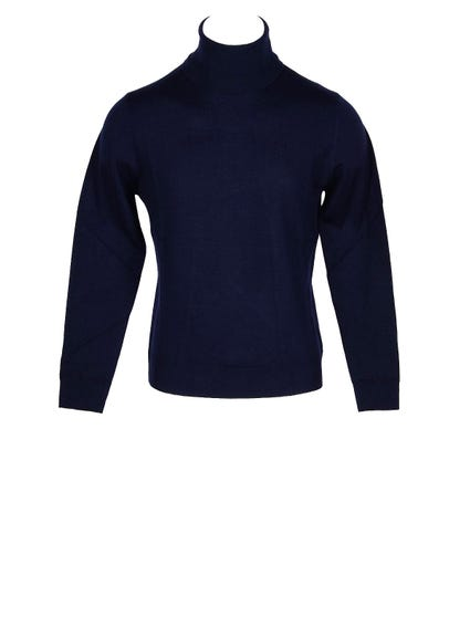 Blue Plain Turtleneck Knit Sweater