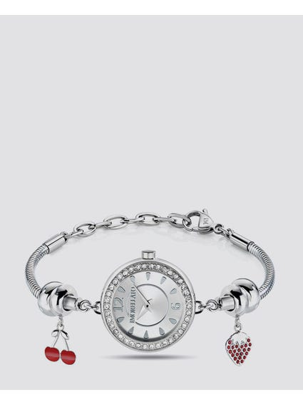 Crystal Equipped Bracelet Analog Watch