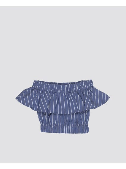 Stripe Off The Shoulder Kids Top