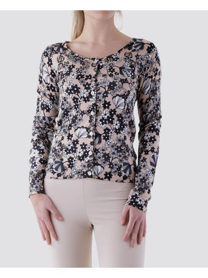 Allover Floral Button Top