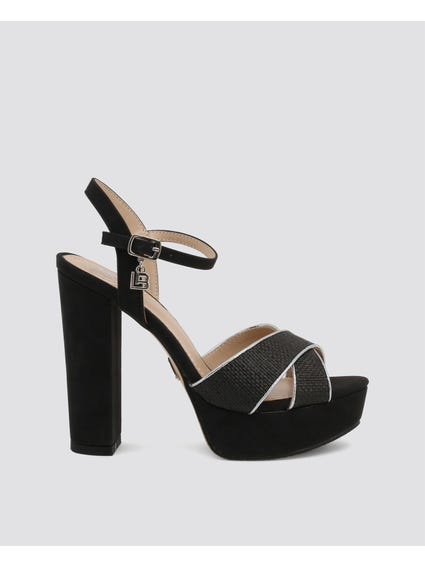 Black Crossover Leather Sandals
