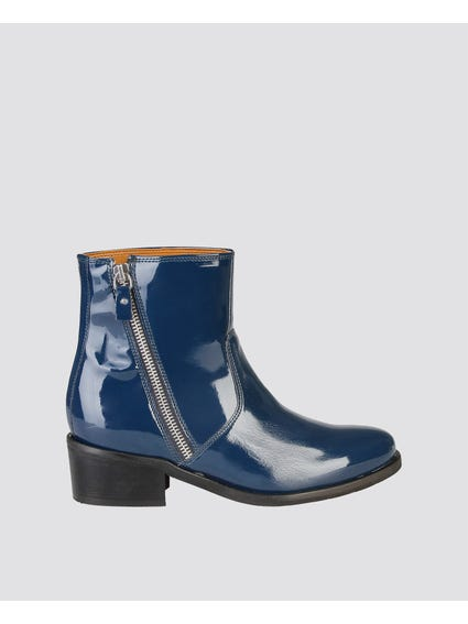 Blue Claralie Zip Ankle Boots