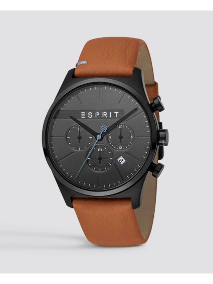 Brown Ease Leather Chronograph Watch