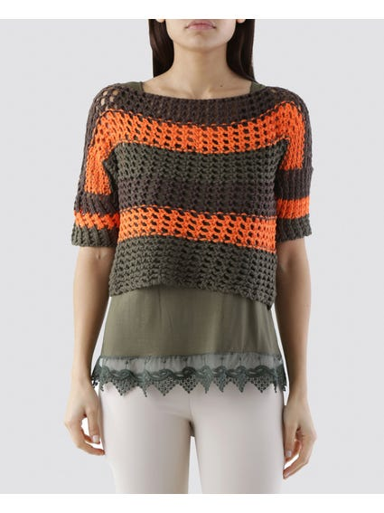 Cropped Contras Knitwear