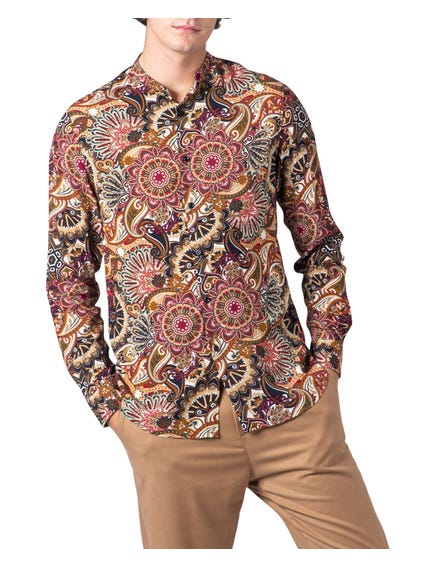 Mandarin Collar Prined All Over Shirt