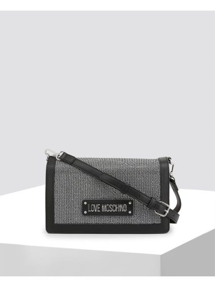 Black Zircons Embellished Crossbody Bag