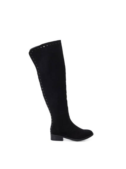 Black Suede Studs High Knee Boots