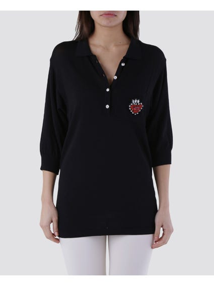Black Embellished Pocket Polo Shirt