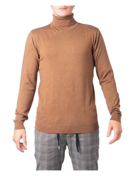 Brown Tone Color Turtle Neck Sweatshirt