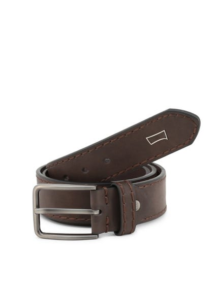 Leather Buckle Stitched Lining Belt