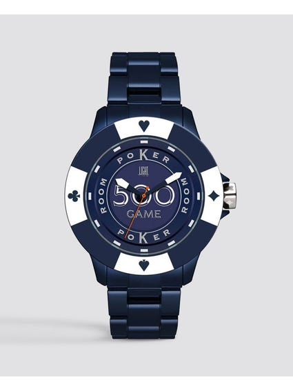 Blue Dial Poker Quartz Watch