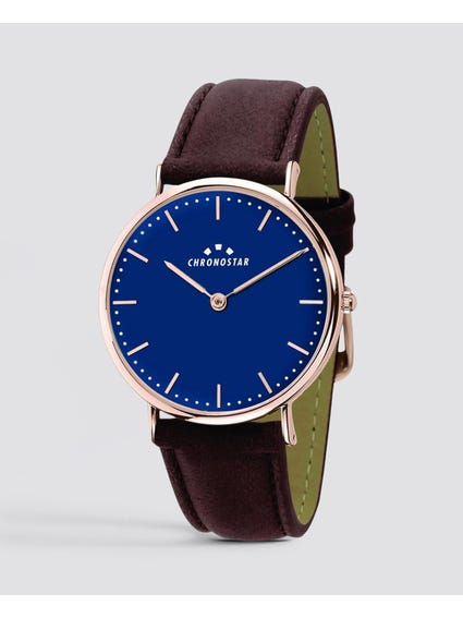 Blue dial Leather Strap  Analog Watch