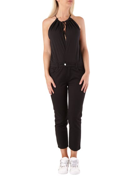 Tie Neck Sleeveless Jumpsuit