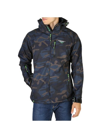 Blue Camouflage Print Hooded Jacket