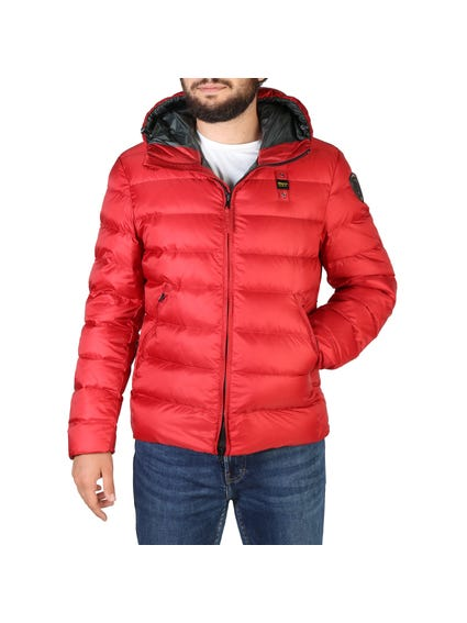 Red Quilted Zipper Hooded Jacket