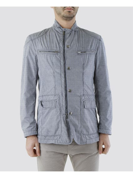 Green Snap Button Collar Jacket with Four Front Pockets