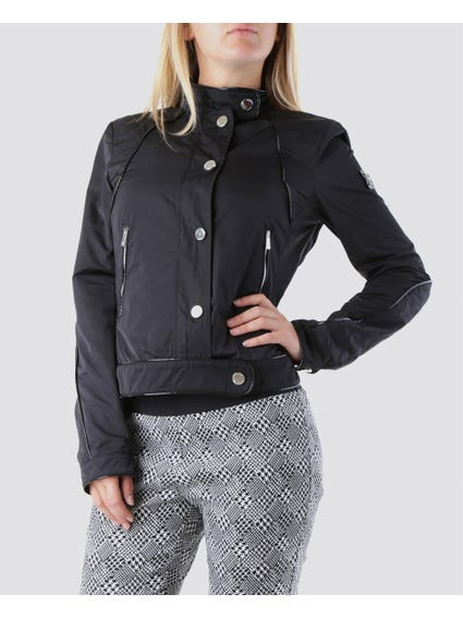 Black Street-Style  Allover Button Jacket