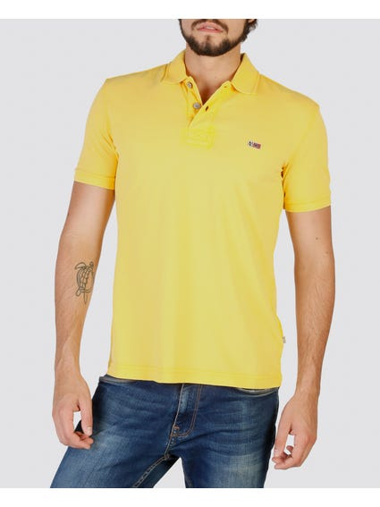Yellow Logo Printed Polo Shirt